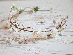 Wedding hair crown, floral tiara, bridal hair piece, white flower crown, hair accessories. $45.00, via Etsy.