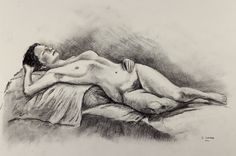 Charcoal Nude 2 - Charcoal on paper. 50 x 35 cm. This is the same deaf model I drew from life. But now her face is revealed to us, and she seems strong in her body and her personality. She is facing the light with closed eyes; neither seeing nor hearing; strong in herself.