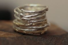 Twigs twigs everywhere. I love these twigs! This listing is for 3 sterling silver twig rings Made from recycled sterling silver, I formed, hammered, and textured these babies into one of a kind twig shapes. Each one is individually formed by my hands and no two are alike! You can order