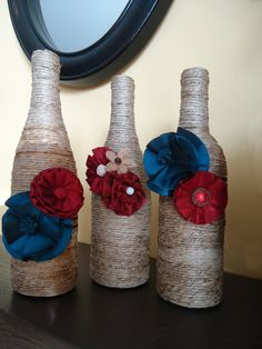 Decorative Wine Bottles wrapped with twine and by JensPersonality