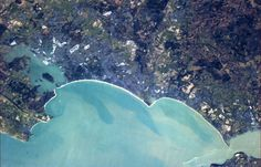 Chris Hadfield Solid-Faced Canvas Print Wall Art Print entitled Bournemouth, with her harbour and beaches on the south English coast Chris Hadfield, National Weather, Jurassic Coast, Uk Photos, Earth From Space, New Forest, Birds Eye View, Out Of This World, Staycation