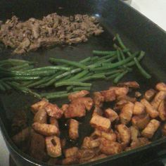 Grilled Steak, green beans, sweet potatoes! I love my electric skillet!