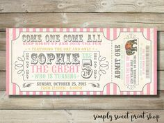 Vintage Girl Circus Invite Invitation Carnival Pink Mint Gold Birthday Party Elephant Admit One Ticket Printable DIY by simplysweetprintshop, $14.50 USD