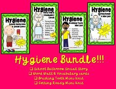 This bungle includes all four of my Hygiene Products!!! 127 Pages of Hygiene resources great for teaching hygiene routines to Pre-K - 2nd and life skills students. Products Included in this Bundle: *Hygiene School Bathroom Social Story *Hygiene Word Wall & Vocabulary cards*Hygiene Brushing Teeth Mini Unit *Hygiene Getting Ready Mini Unit