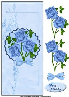 blue roses vertical fold back on Craftsuprint designed by Cynthia Berridge - template by wendy jones her first go at making templates tutorial by Valerie Dawes for the verical fold back card - Now available for download!