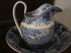 Staffordshire Transferware Lovely Rural Pitcher and Bowl from doralandey on Ruby Lane
