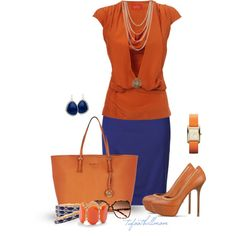 Orange and Blue by tufootballmom on Polyvore