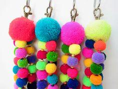 Tutu Pom Pom Keychain Trio of Neon Wool Mini Pom by midgetgems
