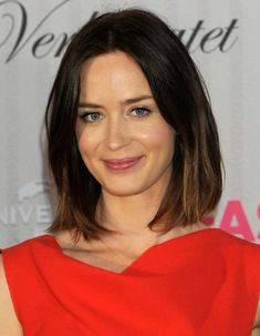 Neck Length Layered Haircuts | Emily Blunt Medium Hairstyles 2013 - Medium Straight Haircuts 2013