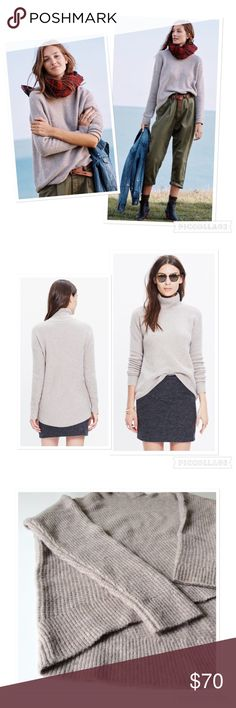 Madewell waffle stich turtle neck sweater Cozy Madewell turtleneck Sweater in softer  -than-yarn. Wears slouchy and swingy with an easy elliptical hem. Slightly oversized. Would describe color as oatmeal. Never been worn. Madewell Sweaters