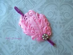 ON SALE!!!  Light Pink Feather Headband Fits 6 Months by babyzdesigns on Etsy, $9.00