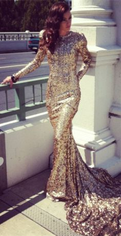 $138--New arrival Prom Gowns Mermaid High Collar Chapel Train Gold Sequined Long Sleeves Sequin Shinning Formal Evening Dresses