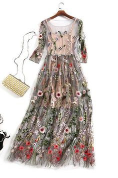 Runway Dress 2017 O Neck Half Sleeve Mesh Botanic Embroidery Dress Floral Embroidered Long Dress Partywear Vestidos With Lining Gauze Dress, Mesh Dress, Tulle Dress, Dress Up, Dress Casual, Formal Dress, Chiffon Dress, Pink Dress, Fashion Vestidos