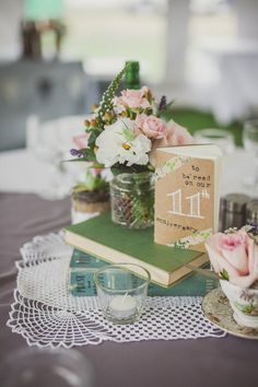 adorable for tables numbers no ? Table numbers + guest book. Kinda great!