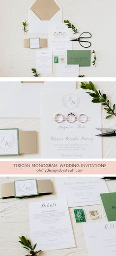 Tuscan Monogram Wedding Invitations for a vineyard wedding, green and gold wedding invitations, winery wedding, North Georgia wedding