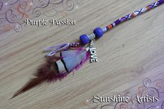 Purple Passion feathered hair wrap, hair braid - Deep purple, Purple, lilac, orange, sparkly silver - wooden beads, LOVE charm and feathers by SunshineArtists on Etsy