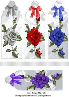 PRETTY SINGLE ROSES WITH BOWS BOOKMARKS on Craftsuprint designed by Nick Bowley - PRETTY SINGLE ROSES WITH BOWS BOOKMARKS, Makes four lovely cards, lots of other floral designs to see, and in DL Designs - Now available for download!