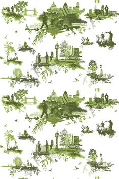 Timorous Beasties Fabric - London Toile -- a funny take on toile with scenes of London crime
