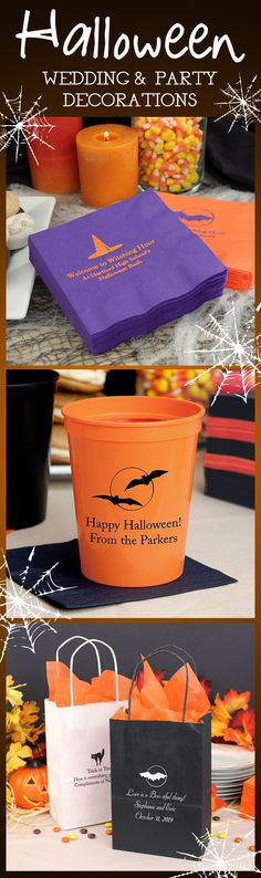 Personalized Halloween wedding decorations and party favors will make your Halloween wedding reception or party spectacular, spooky success.  Halloween designed cups, napkins, and bags will give your decorations that personal touch no other Halloween party will have. These napkins, cups and treat bags can be ordered at http://myweddingreceptionideas.com/halloween_party_favors.asp