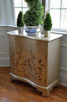 Cabinet Makeover with Martha Steward Metallic Paint