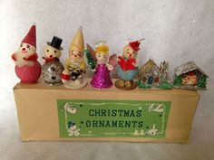 Vintage 1950's Box Of 7 Commodore Paper Mache Mica Christmas Ornaments Japan