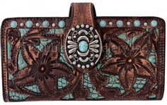Vintage Brown Tooled & Turquoise Gator POSY Wallet by Double J Saddlery.