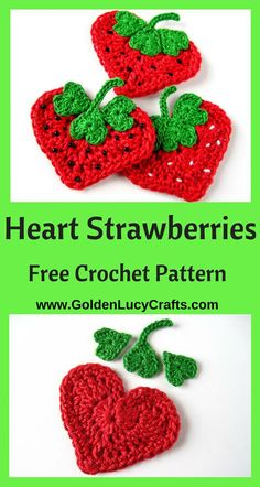 Crochet Strawberry applique pattern, free crochet pattern, heart shaped, crochet applique, hearts, Valentine's Day, #crochet, #freecrochetpattern - GoldenLucyCrafts