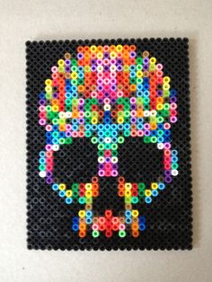 Skull hama beads by Irina Hansen    @Season Crandall as the girls can make this for my christmas present.  Fucking awesome magnets, no?