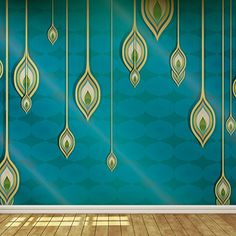 Blue Teal and Gold Exotic Indian Design Wallpaper Mural C…