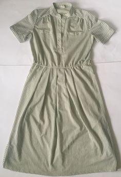Retro Striped Dress Olive Green White 38 German Diner Girl Mandarin Collar M L  | eBay
