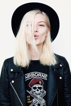 bleached long bob hair