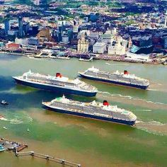 """The 3 """"Queens"""" on the River Mersey, Liverpool Liverpool Waterfront, Liverpool Town, Liverpool Docks, Liverpool History, Liverpool England, Cunard Ships, Carnival Corporation, Norwegian Cruise Line, Southport"""