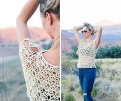 Combine the breezy Canyonlands boho crochet top with a bandeau or cami, a pair of well-worn jeans and a free spirit for a perfect bohemian look! Free pattern!
