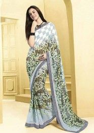 Casual Wear  Georgette White Printed Saree