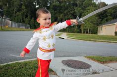 Prince Charming Costume Tutorial- she completely sews this from scratch but I feel like you could easily embellish a kids chef coat and some dress pants for the same effect. Homemade Halloween Costumes, Disney Halloween Costumes, Baby Costumes, Halloween Fun, Toddler Halloween, Prince Costume For Kids, Prince Charming Costume, Cinderella Birthday, Princess Birthday