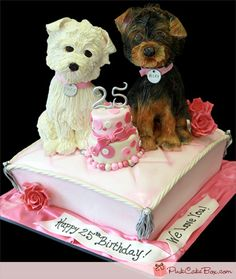 """A 25TH ANNIVERSARY CAKE.  """"A Morkie & Maltese, sitting atop a pale pink quilted pillow. The pillow was decorated with silver buttons and sparkly silver tassel in each corner."""""""