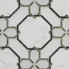 Ann Sachs Chelsea Harbour renwick grande mosaic in diamond white clear glass, diamond white frost glass, statuario in polished finish, avocado and verde dark in honed finish Marble Mosaic, Stone Mosaic, Mosaic Tiles, Mosaics, Frosted Glass, Clear Glass, Floor Patterns, Bathroom Flooring, Tile Design