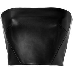 David Koma Leather Bustier ($265) ❤ liked on Polyvore featuring tops, crop top, shirts, black, fitted crop top, strapless top, black top, black bustier top and black leather bustier