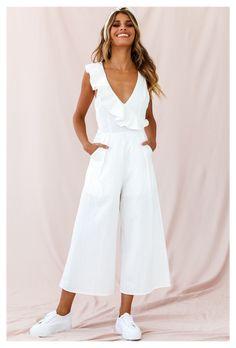Jumpsuit Outfit, Casual Jumpsuit, White Jumpsuit, Elegante Jumpsuits, Jumpsuits For Women Formal, Cotton Jumpsuit, Casual Outfits, Fashion Outfits, Spring Outfits