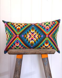 Cushion Cover Vintage Neon Aztec Limited Edition Alexander Henry Fabric via Etsy.