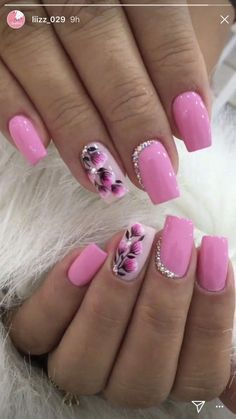 Gel Nail Designs With Flowers, specially these 5 gorgeous latest options will always give you a holly feelings and fresh feelings at any time and any situation. Hope you want to carry it with you for Nail Designs Spring, Gel Nail Designs, Nails Design, Flower Nail Designs, Winter Nails, Spring Nails, Argyle Nails, Pink Nail Art, Pretty Nail Art