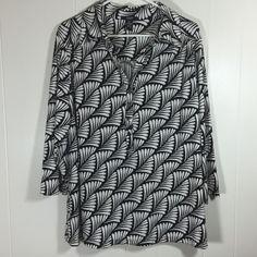 Alfani Woman 2X Black White Print V Neck Henley Poly Stretch Blouse Top 3/4 Slv