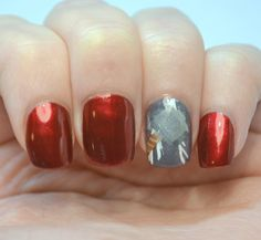 Nails inspired by the new Avengers movie, featuring Thor's hammer Mjolnir!
