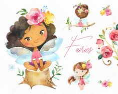 Fairies Watercolor magic clipart little girls dark skins Fairy Clipart, 2 Clipart, Conception Web, Rainbow Fairies, Forest Fairy, Rainbow Unicorn, Cute Illustration, Graphic, Dark Skin