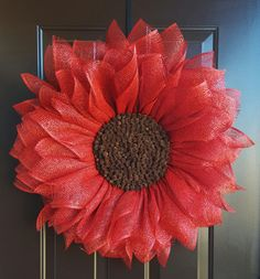Red Sunflower Wreath Red Flower Wreath Home by TriciasTreasures11