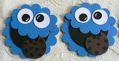 "KBPapercraft; Cookie Monster: head - 1 3/4"" scallop circle in Pacific point and a second scallop circle punched twice slightly less than half way mouth - 1 1/4"" circle in black eyes - 1/2"" circle in white, 1/4"" circle in black cookie - 3/4"" circle in early espresso, punched slightly with a scallop to make the ""bites"" and then the choc chips were drawn on with a black marker"
