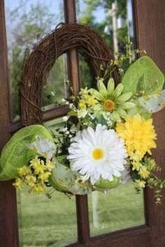 Spring Summer Floral Oval Grapevine Wreath