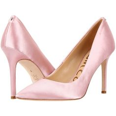 Sam Edelman Hazel (Pink Nude Satin) Women's Shoes ($85) ❤ liked on Polyvore featuring shoes, nude ballet pumps, satin shoes, special occasion shoes, evening shoes and pink ballet shoes