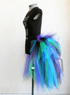 Peacock Pixie Bustle - Women's Custom Sewn 3 Tiered Pixie Tutu Bustle - Up to 30 inches in length $54