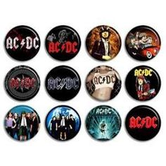 Punk Rock Buttons | Set of 12 AC/DC ACDC Music Rock Band 1.25 Buttons Pins